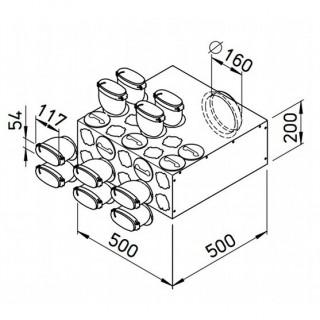 Collecteur intermédiaire 10 piquages pour conduits plats 51 mm [- FRS-VK 10-51/160 - Réseau FlexPipe - Helios]