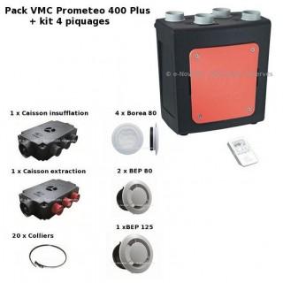 Pack Vort Prometeo HR 400 PLUS + kit accessoires (Radio + By-Pass automatique) [- VMC Double flux haut rendement - Vortice]
