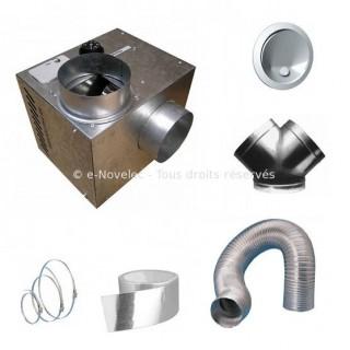 Kit CHEMINAIR 400 [- Ø 125 - 400 m3/h - Pack répartiteur d'air chaud pour foyer fermé - Unelvent]