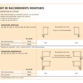 Option Kit de raccordement monotube pour radiateurs de chauffage central [- ACOVA]