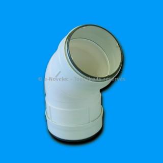 Coude circulaire à 45° à joints - CDCV 45 [- conduits PVC de Ventilation - Unelvent]